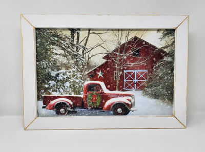 Red Truck White Barn Winter Print