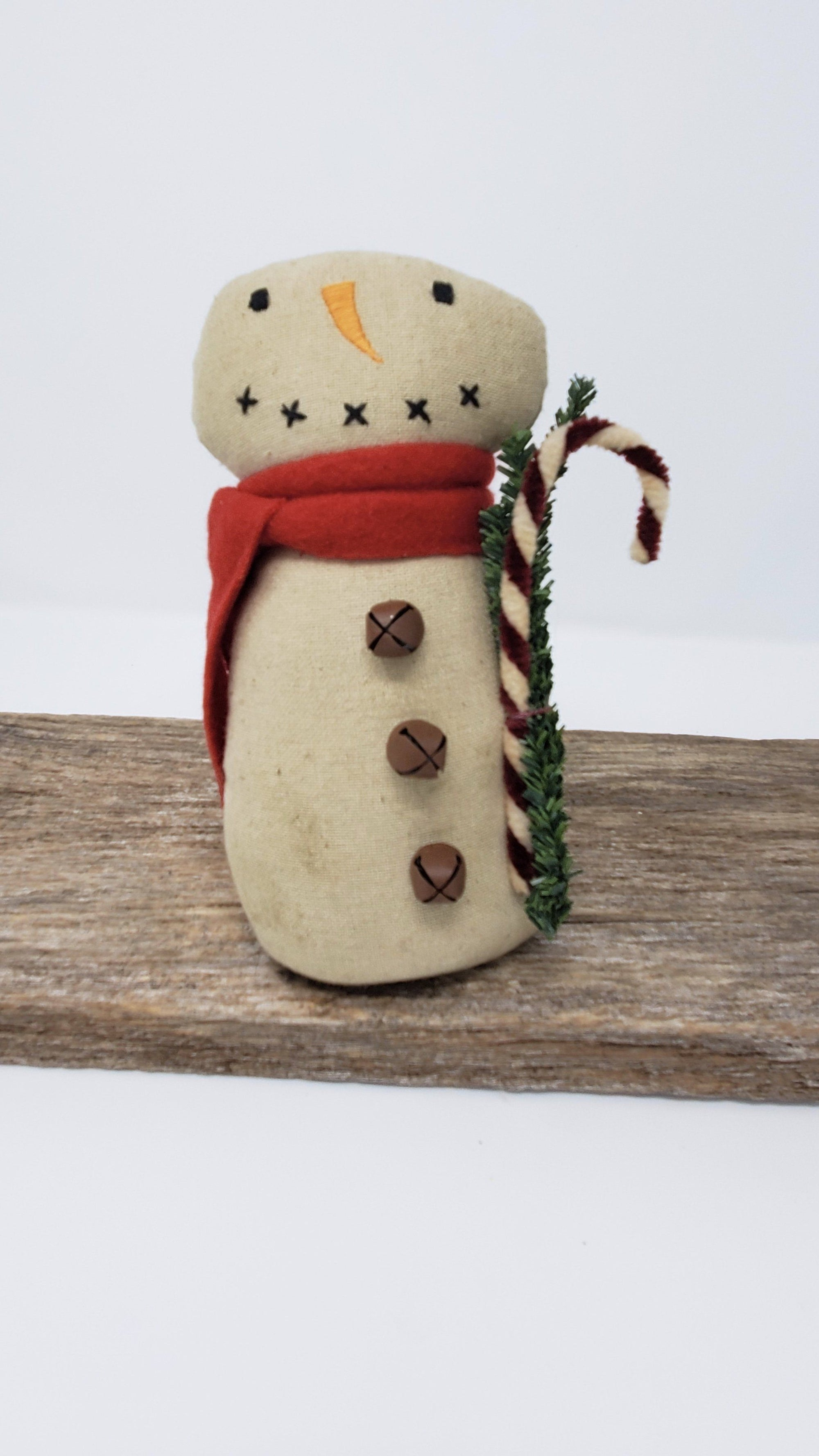 Primitive Snowman with Candy Cane