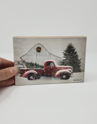 Red Truck White Barn Winter Block Sign Holiday Decor A Rustic Feeling