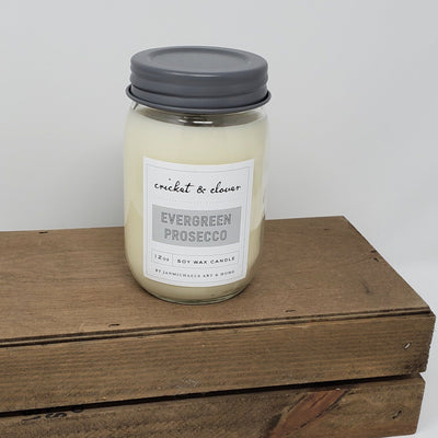 Mason Jar Soy Candle - Evergreen Prosecco Farmhouse Decor A Rustic Feeling