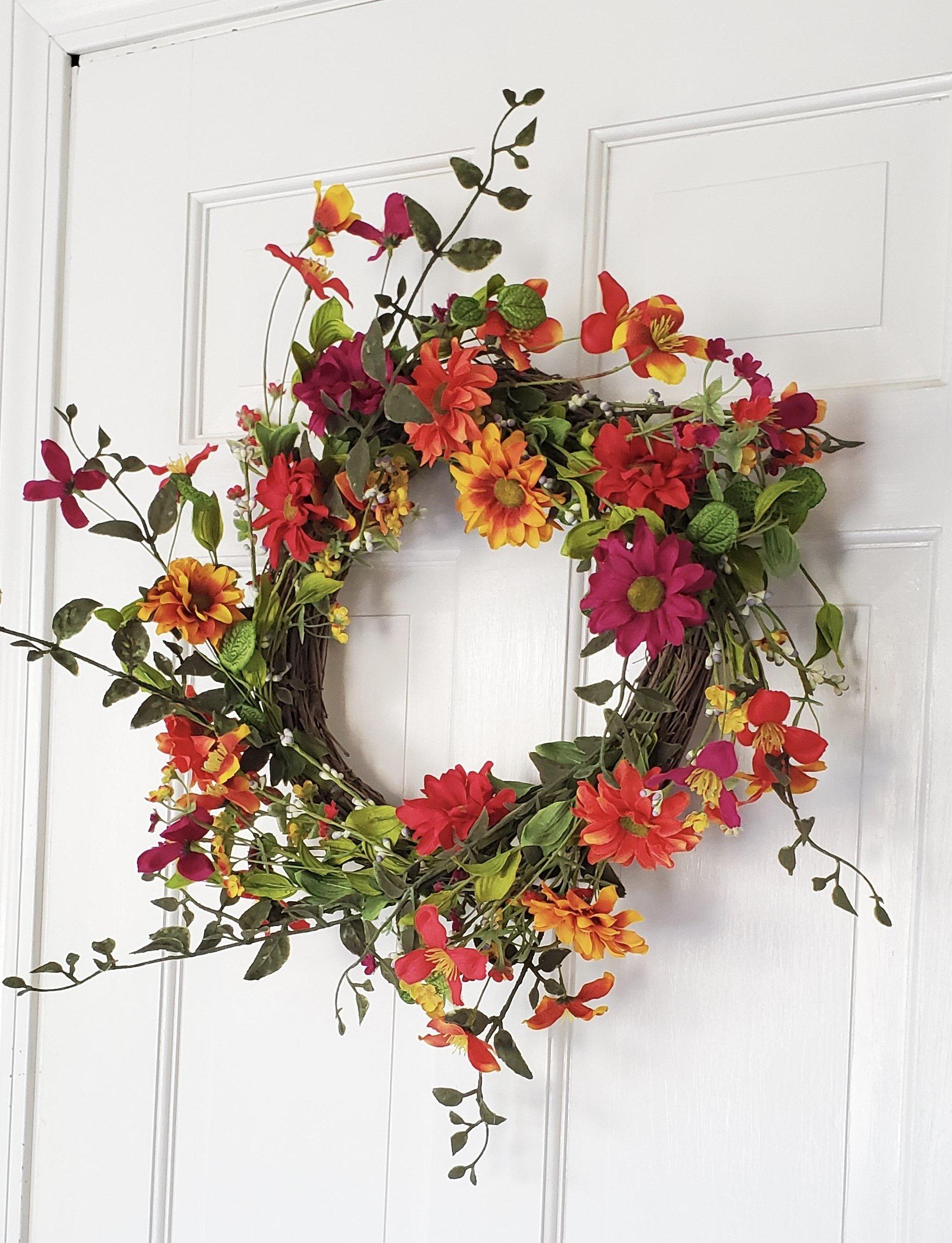 "Spring Twig Wreath with Vibrant Wildflowers 24"" Farmhouse Decor A Rustic Feeling"