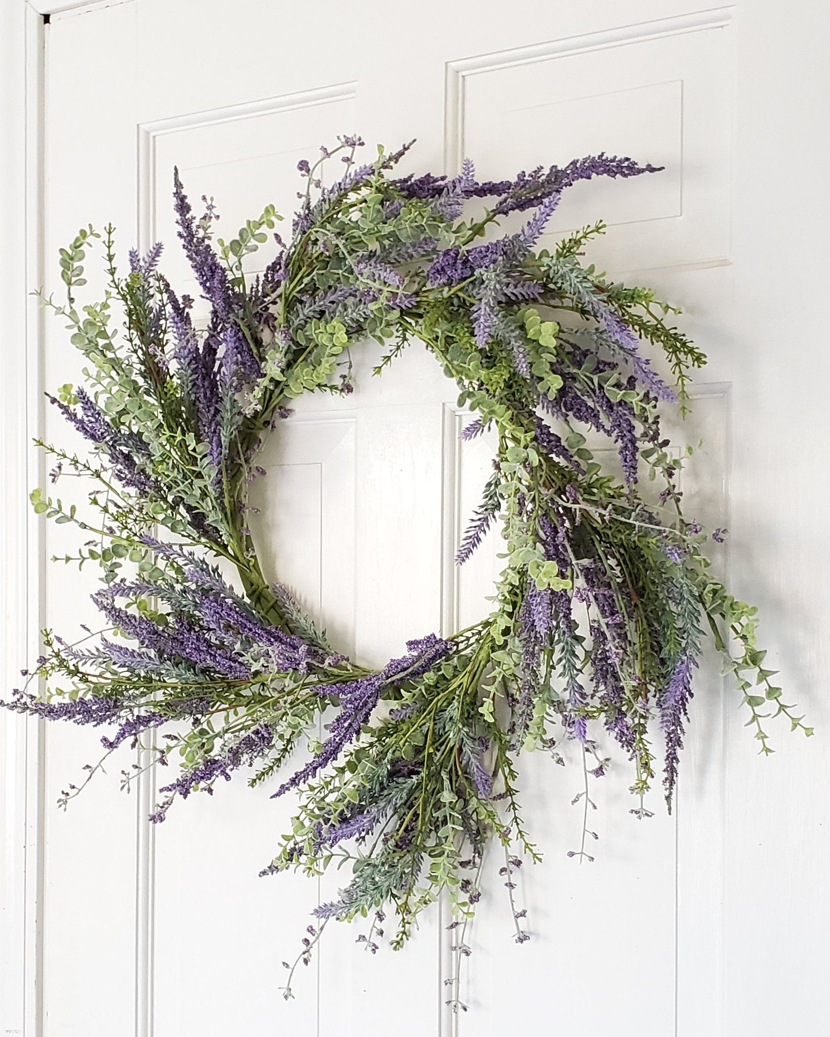 Spring Front Door Wreath, Lavender Wreath, Eucalyptus Wreath, Everyday Wreath, Farmhouse Wreath, Rustic Farmhouse Wreath, Wreaths, Purple Wreaths, Spring Decor, Front Door Wreath