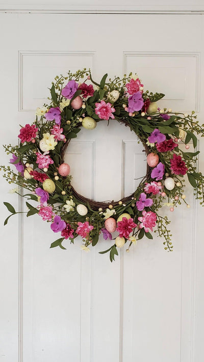 Easter Wreath with Spring Flowers and Easter Eggs Farmhouse Decor A Rustic Feeling