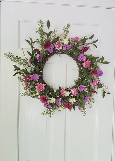 "Spring Farmhouse Wreath 24"" Farmhouse Decor A Rustic Feeling"