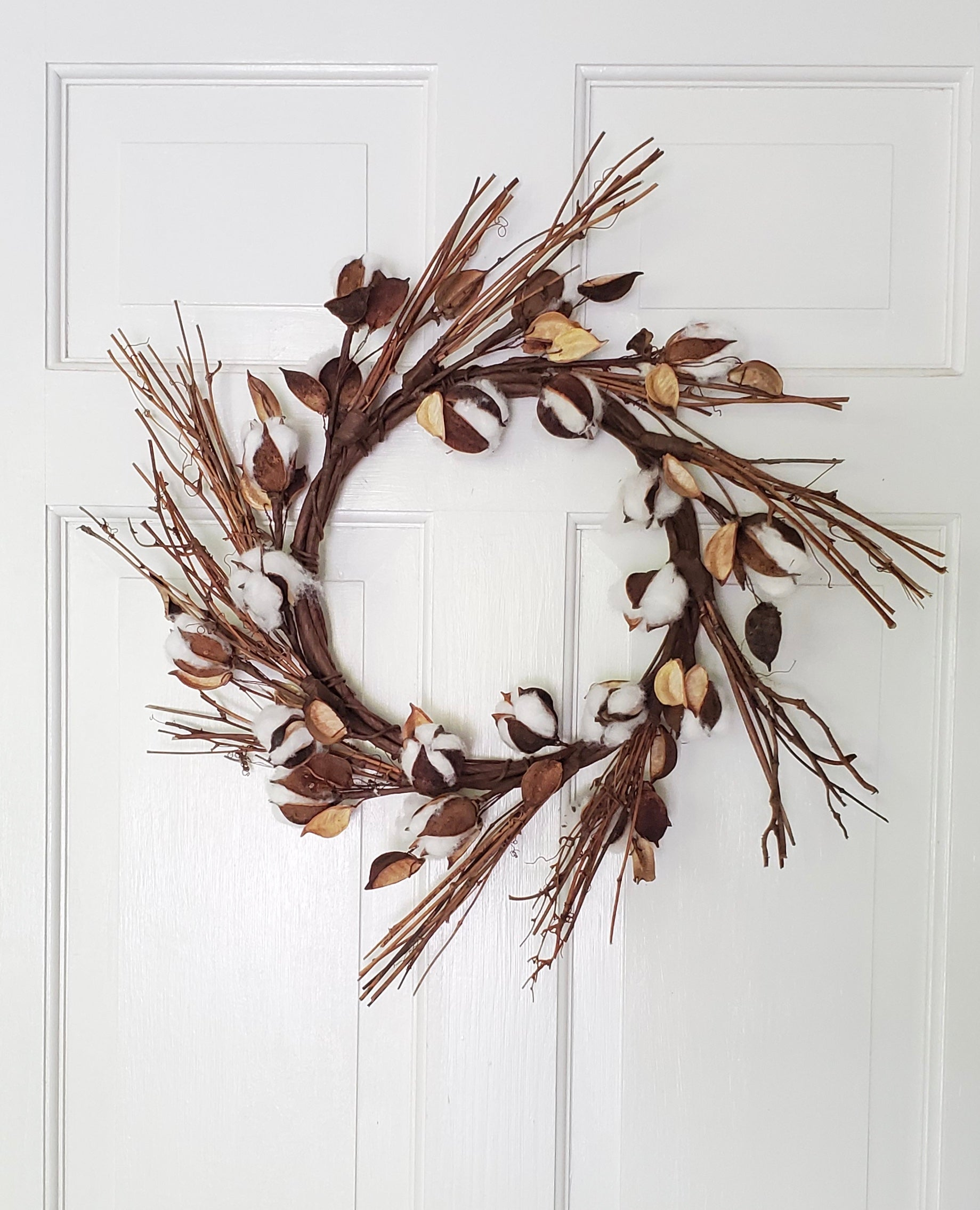 Cotton and Twig Farmhouse Wreath