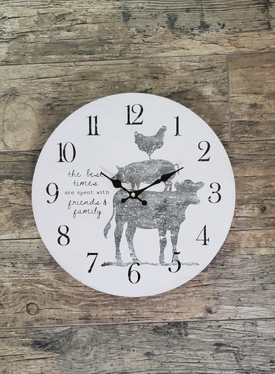 Farmhouse Clock with Farm Animals Farmhouse Decor A Rustic Feeling