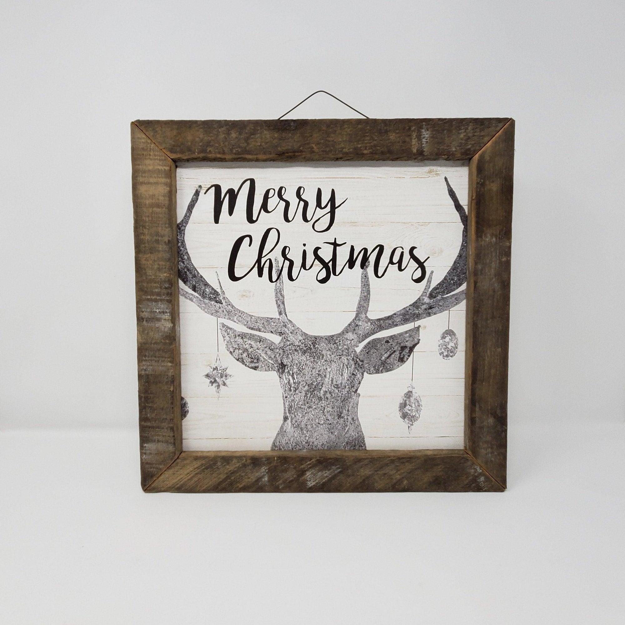 Merry Christmas Deer with Ornaments Cabin Decor Holiday A Rustic Feeling