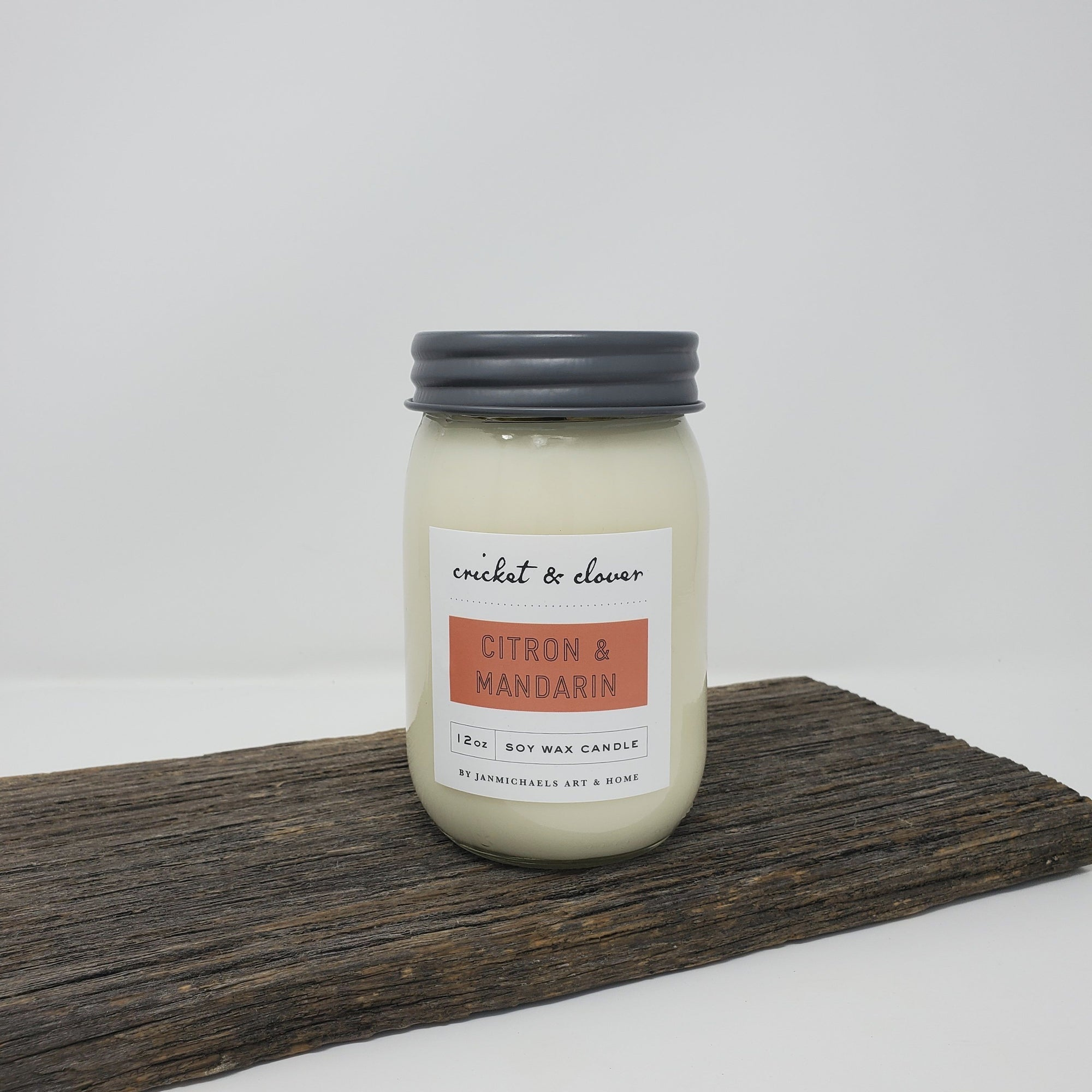 Mason Jar Soy Candle - Citron and Mandarin Summer Decor A Rustic Feeling