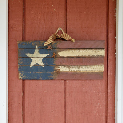 Lath Wooden American Flag with Rusty Stars Americana A Rustic Feeling
