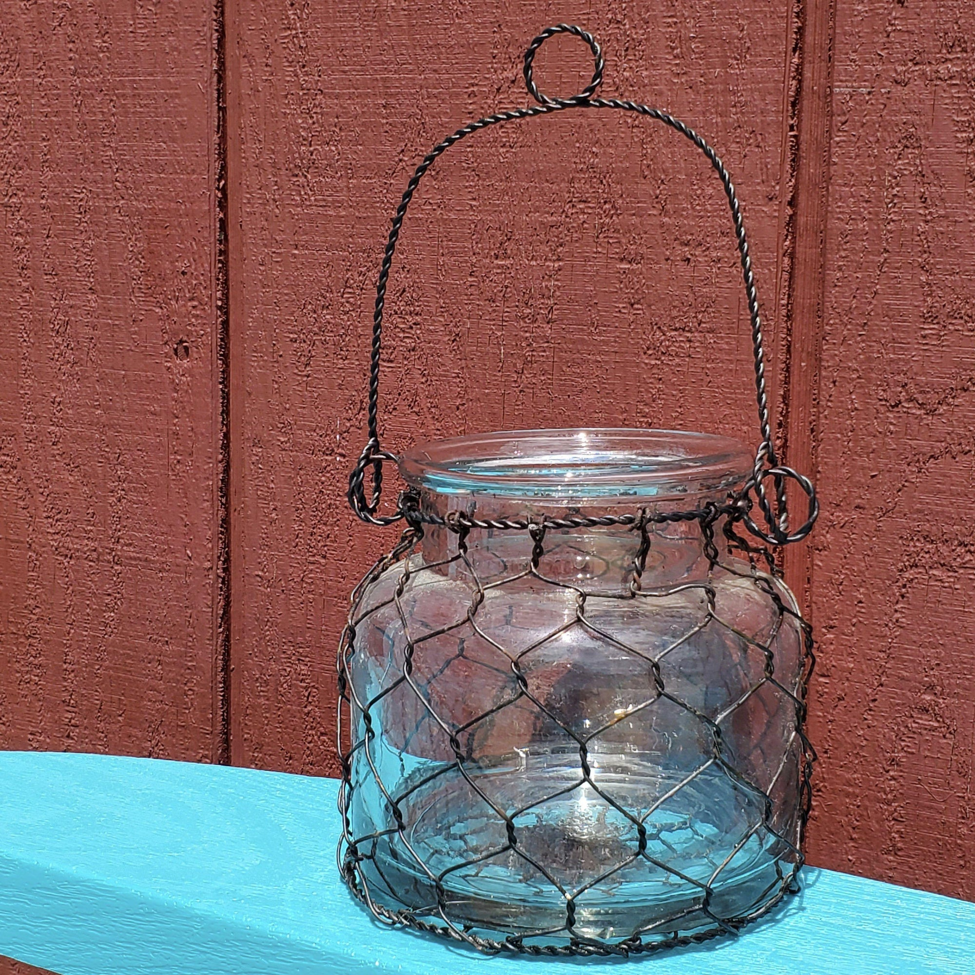 Farmhouse Jar with Chicken WIre Farmhouse Decor A Rustic Feeling