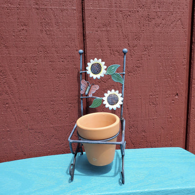 Mini Flower Pot with Sunflowers and Butterfly Garden Decor A Rustic Feeling