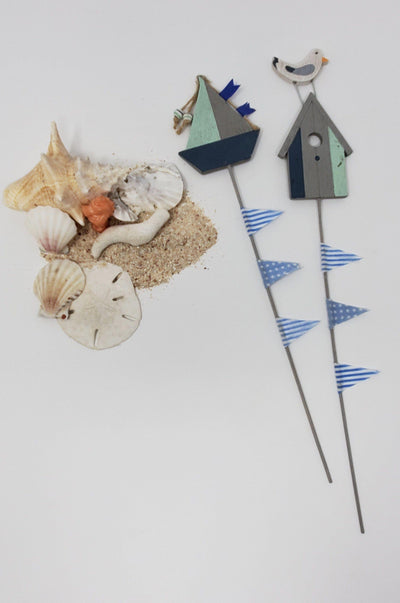 Sailboat and Seagull Sea Stakes Beach Decor A Rustic Feeling