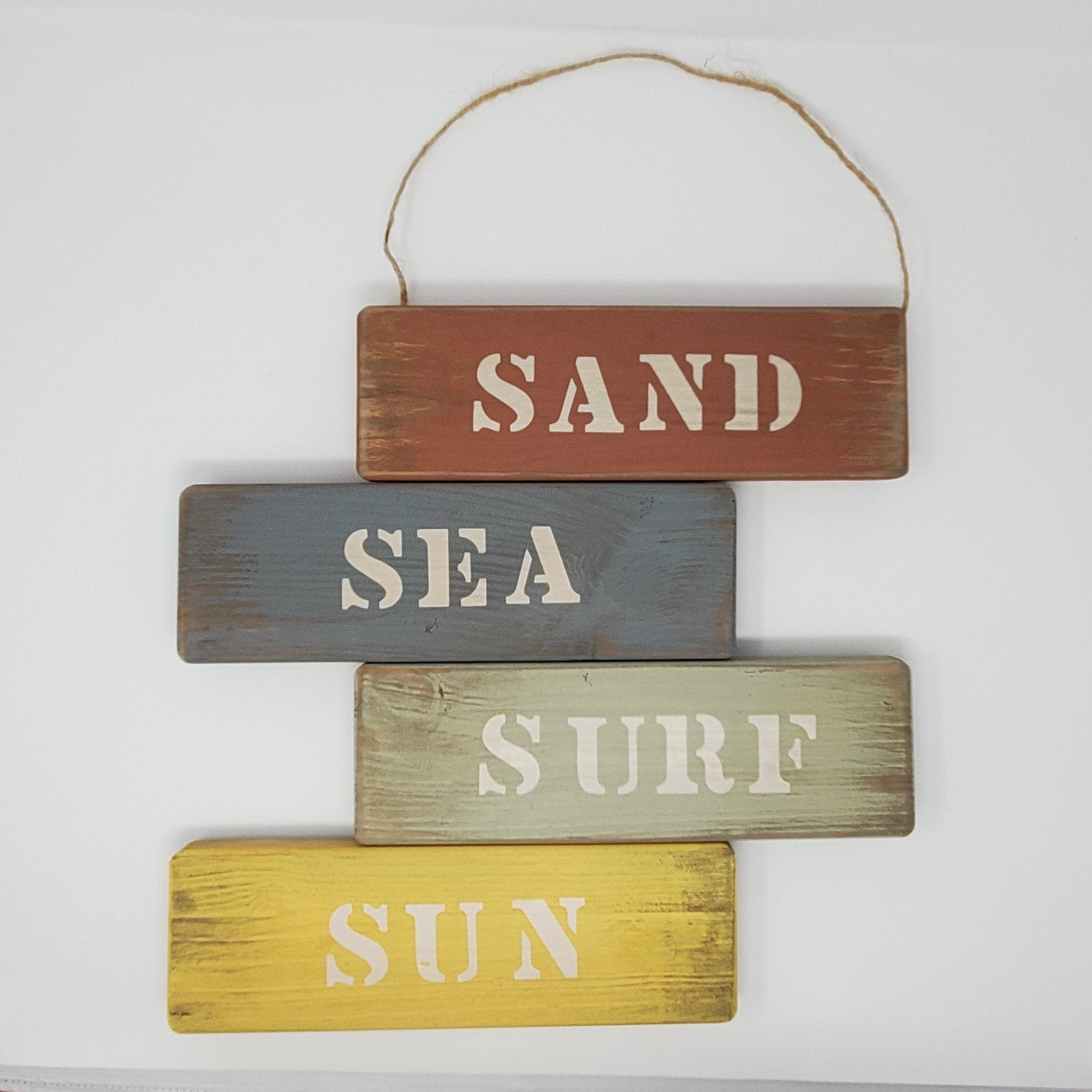 Sand Sea Surf Sun Wood Beach Sign Beach Decor A Rustic Feeling