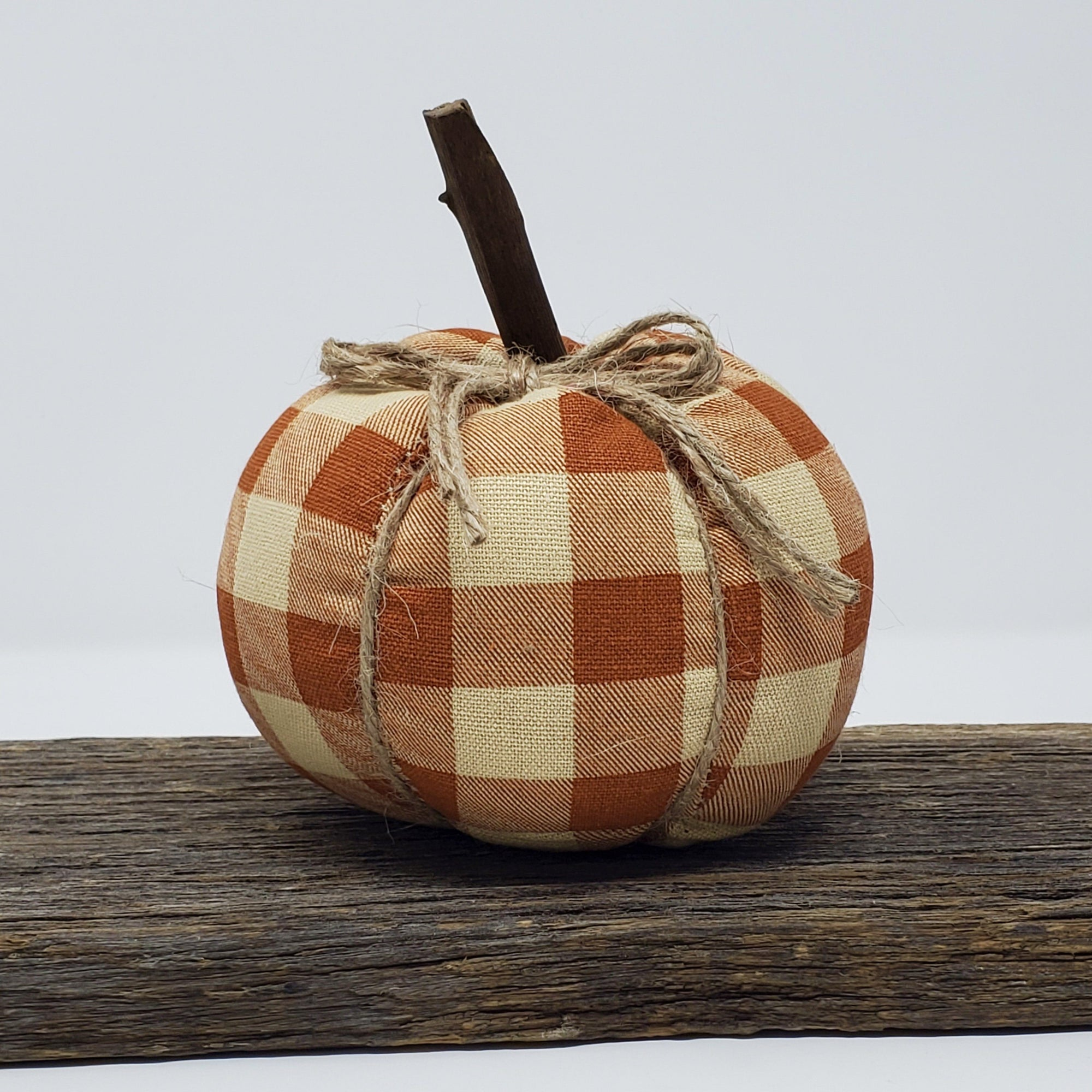Orange Buffalo Plaid Pumpkin Fall Decor A Rustic Feeling