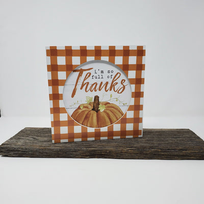 Full of Thanks Wood Box Sign Fall Decor A Rustic Feeling