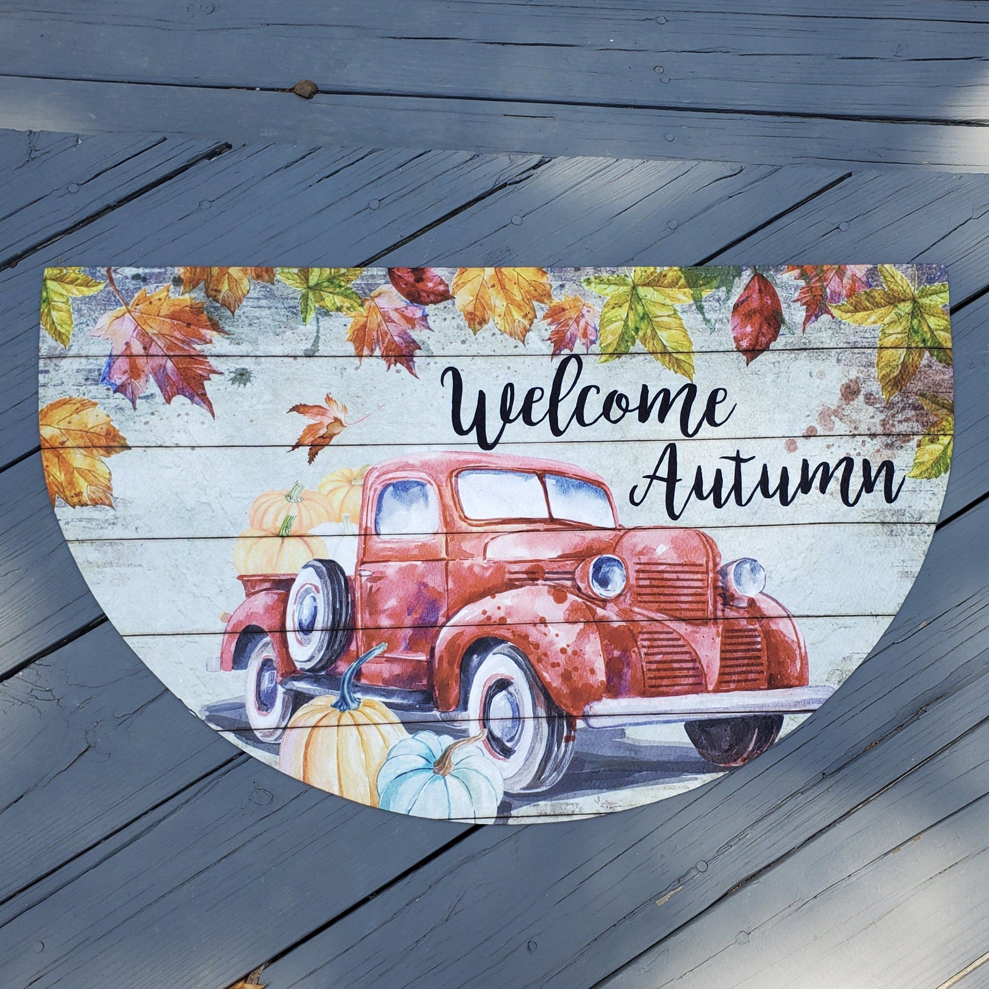 Welcome Autumn Front Porch Mat Fall Decor A Rustic Feeling