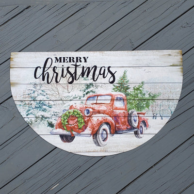 Red Vintage Truck Merry Christmas Welcome Mat Holiday A Rustic Feeling