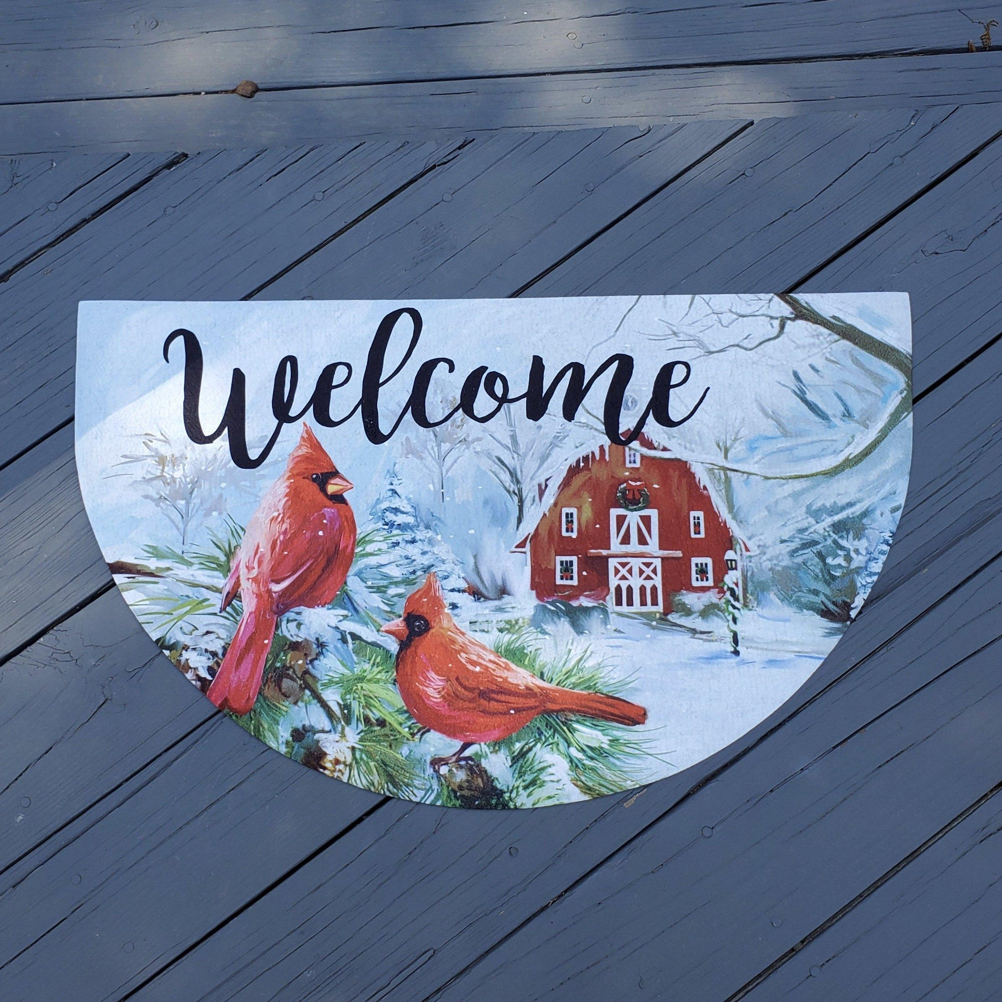 Christmas Cardinal Welcome Mat, Christmas Front Porch, Christmas Door, Christmas Decorations