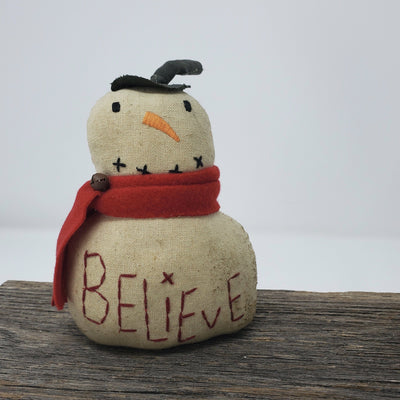 Primitive Snowman with Believe Primitive Decor A Rustic Feeling