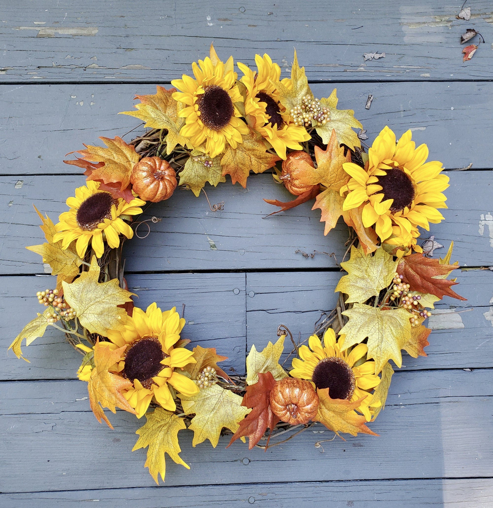 Sunflower Wreath, Fall Wreath, Fall Front Door Fall Decor A Rustic Feeling