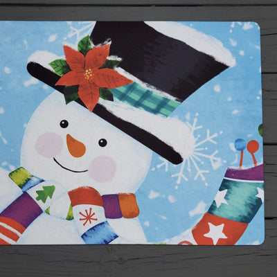 Snowman Front Porch Welcome Mat Holiday A Rustic Feeling
