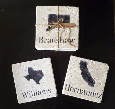 Personalized Gifts, Personalized Coasters Holiday Gift Ideas A Rustic Feeling