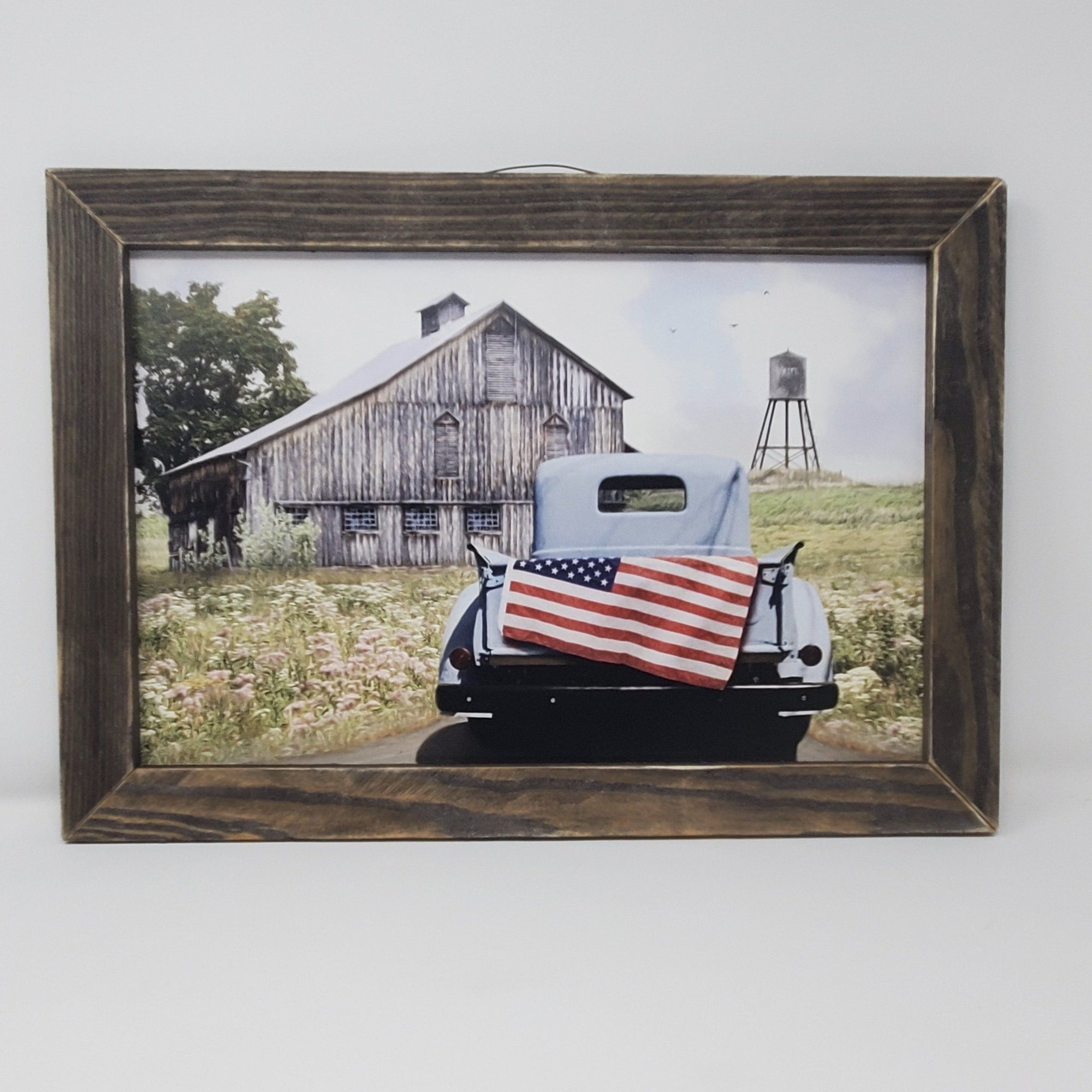 Rustic Truck with American Flag Framed Print Americana A Rustic Feeling