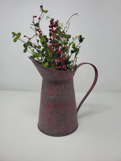Valentine's Day Rustic Red Metal Pitcher Farmhouse Decor A Rustic Feeling
