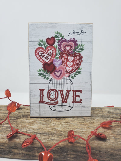 Mason Jar with Hearts Valentine's Day Sign Valentine Decor A Rustic Feeling