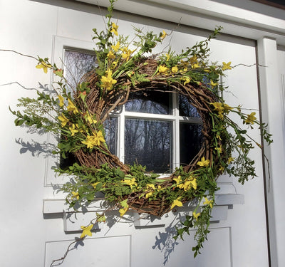 Forsythia Spring Wreath for Front Door Country Home Decor A Rustic Feeling