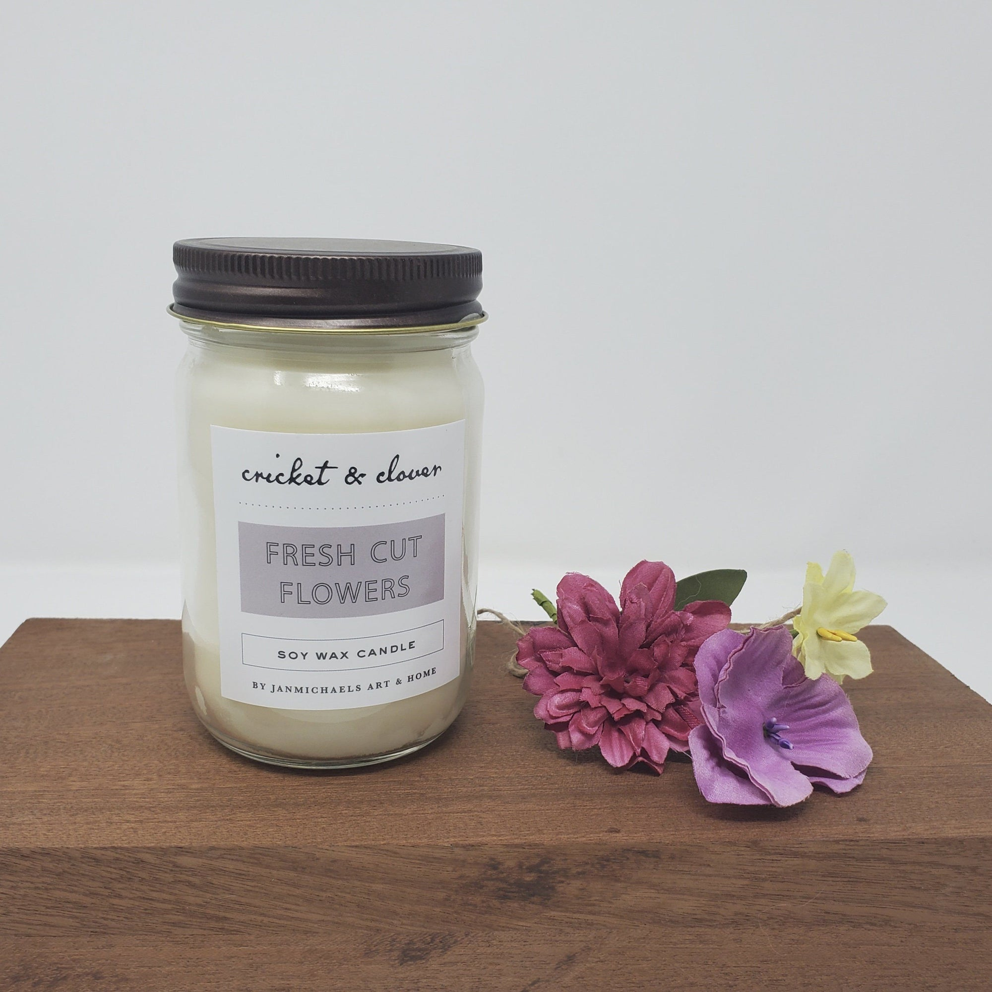 Mason Jar Soy Candle - Fresh Cut Flowers Summer Decor A Rustic Feeling