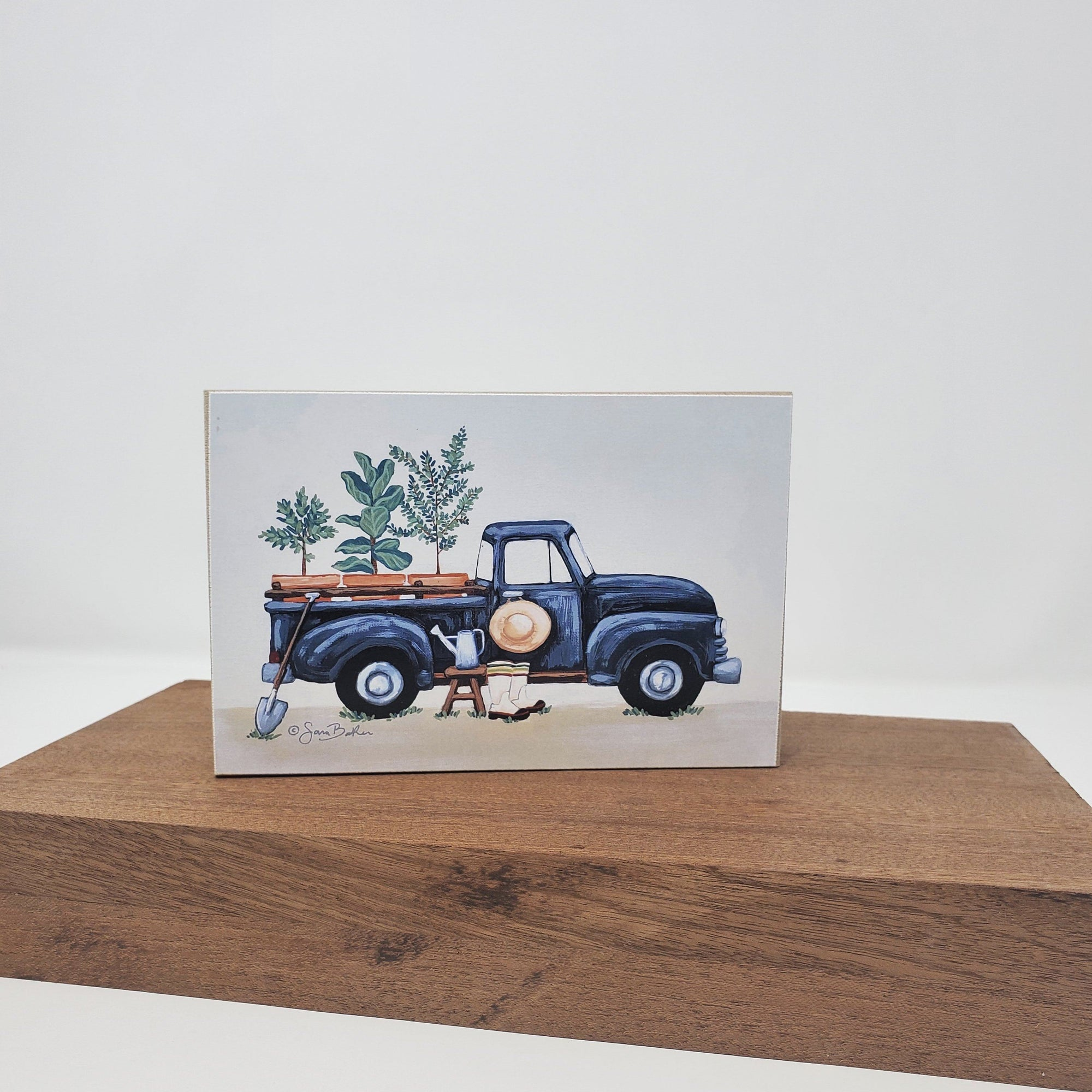 Rustic Pickup Truck Gardening Block Sign Garden Decor A Rustic Feeling