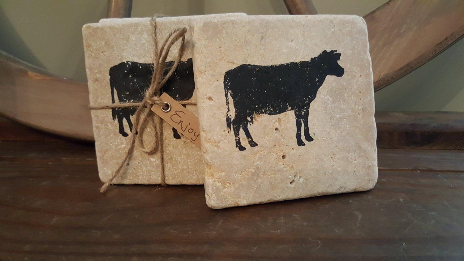 Cow Gifts, Cow Coasters, Farmhouse Kitchen Coasters