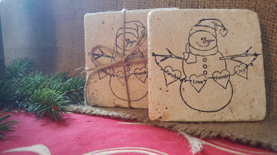 Snowman Coasters with Family Love Friends Joy Banner Holiday Gift Ideas ARusticFeeling
