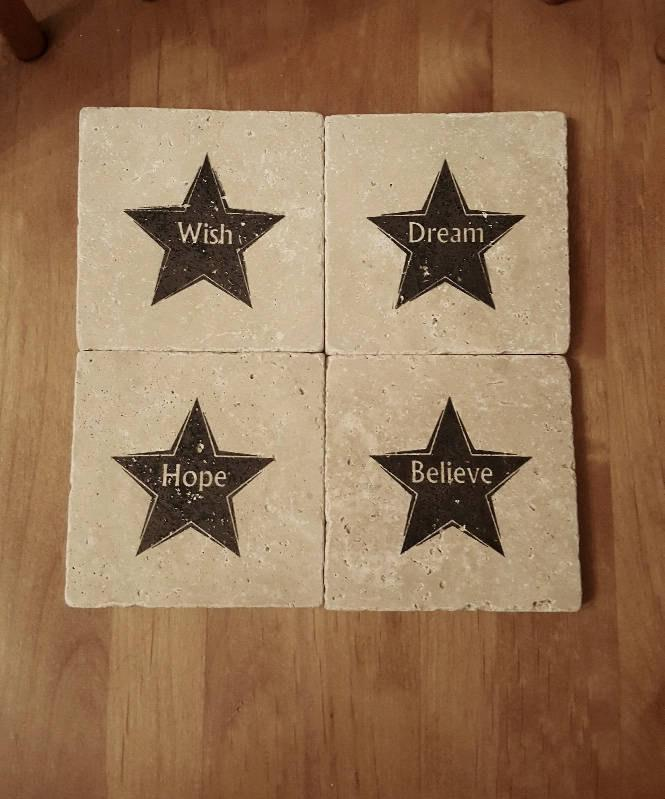 Coaster Sets, Coaster Gifts, Star Gifts, Coasters, Mother's Day Gifts, Inspirational Gift, Gift for Her, Stone Coaster, Dream Gift Ideas