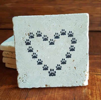 Dog Paw Print Heart Coasters Pet A Rustic Feeling