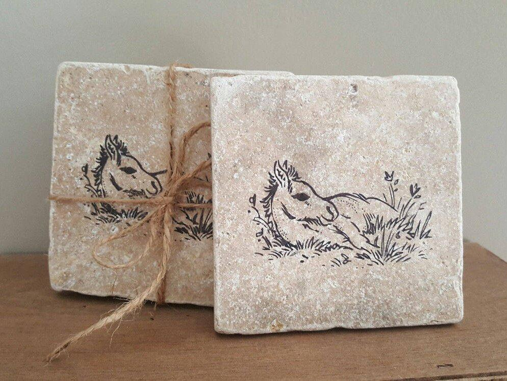 Horse Gift Coasters Pet A Rustic Feeling