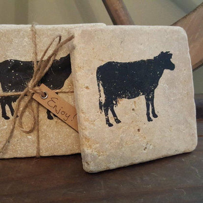 Farmhouse Cow Coasters Country Home Decor A Rustic Feeling