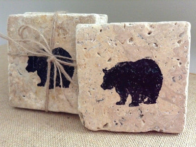 Set of 4 Stone Cabin Coasters, Gift for Hunters, Cabin Decor, Bear Drink Coasters