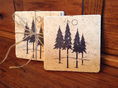 Cabin Decor, Cabin Coasters, Tree Coasters, Set of 4 Coasters