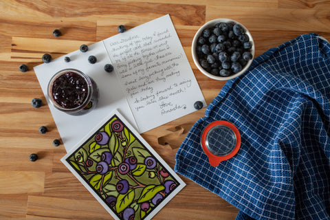 Handwritten Card with Blueberry Image by Sarah Angst Art
