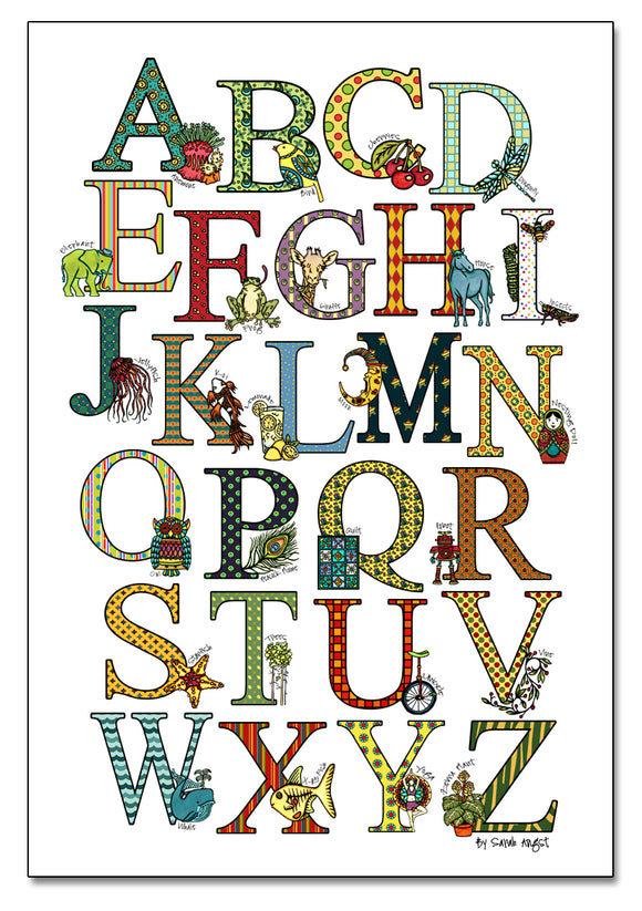 Alphabet Poster - Sarah Angst Art Greeting Cards, Giclee Prints, Jewelry, More