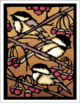 Three Chickadees - Packaged Christmas Cards - Sarah Angst Art Greeting Cards, Giclee Prints, Jewelry, More