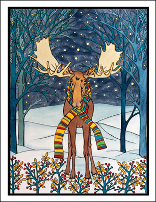 Holiday Moose - Packaged Christmas Cards - Sarah Angst Art Greeting Cards, Giclee Prints, Jewelry, More