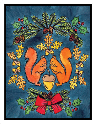 Holiday Squirrels - Packaged Christmas Cards - Sarah Angst Art Greeting Cards, Giclee Prints, Jewelry, More
