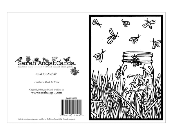 Color Your Own Fireflies Card - Sarah Angst Art Greeting Cards, Giclee Prints, Jewelry, More