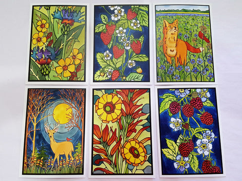 Bright & Bold Collection - 6 Pack - Sarah Angst Art Greeting Cards, Giclee Prints, Jewelry, More