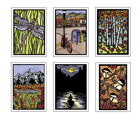 Best Seller Collection - 6 Pack - Sarah Angst Art Greeting Cards, Giclee Prints, Jewelry, More
