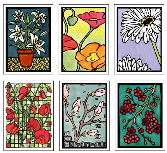 Floral Collection #1 - 6 Pack - Sarah Angst Art Greeting Cards, Giclee Prints, Jewelry, More