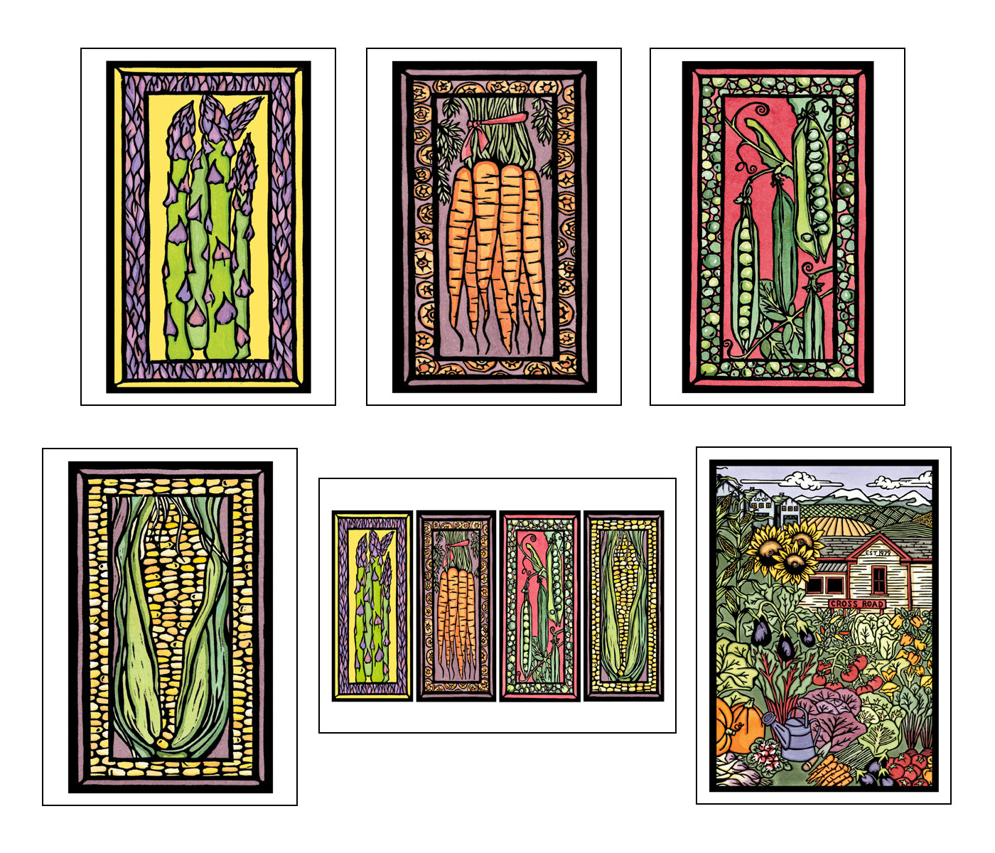 Garden Collection - 6 Pack - Sarah Angst Art Greeting Cards, Giclee Prints, Jewelry, More